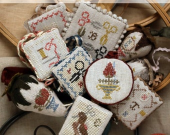 Counted Cross Stitch Pattern, Festive Little Fobs, Sewing Accessory, Scissor Fob, Beth Twist, Heartstring Samplery, PATTERN ONLY