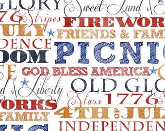 Quilt Fabric, American Spirit, Independence Words, Patriotic Fabric, Americana, Cotton, Quilter Cotton, Premium Cotton, Beth Albert Fabric