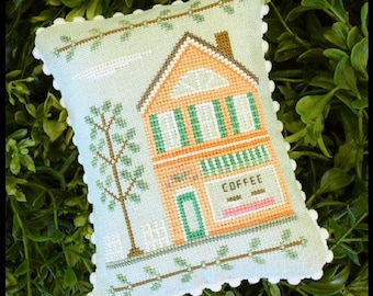 Counted Cross Stitch, Main Street Coffee Shop, Cottage Decor, Main Street Series #4, Country Cottage Needleworks, PATTERN ONLY
