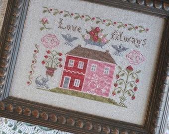 Counted Cross Stitch Pattern, Love Always, Sampler, Anniversary Sampler, Wedding Sampler, Annie Beez Folk Art, PATTERN ONLY