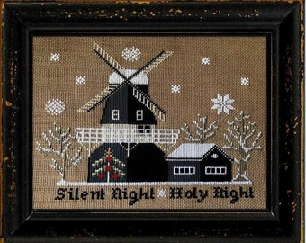 Counted Cross Stitch Pattern, Olde Mill Christmas, Winter Decor, Windmill, Silent Night, Country Rustic, Twin Peak Primitives, PATTERN ONLY