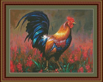 Counted Cross Stitch Pattern, Colourful Rooster, Farmhouse Decor, Farm Animal, Primitive Decor, Chicken Decor, Kustom Krafts, PATTERN ONLY