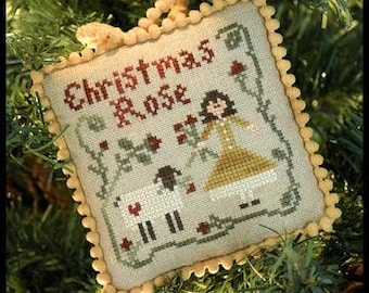 Counted Cross Stitch Pattern, Christmas Rose, Christmas Ornament, Sampler Tree, Ornament, Christmas, Little House Needleworks, PATTERN ONLY