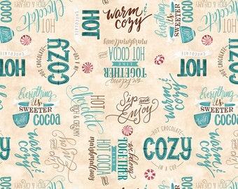 Quilt Fabric, Cuppa Cocoa, Cream Word Toss, Hot Cocoa, Quilters Cotton, 100% Cotton, Quilter Cotton, Premium Cotton, Danielle Leone