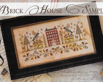 Counted Cross Stitch Pattern, Brick House Sampler, Antique Reproduction, Cross Stitch, Colonial House, Brenda Gervais, PATTERN ONLY