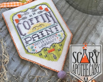 Counted Cross Stitch Pattern, Coffin Paint, Scary Apothecary, Halloween, Paint Roller, After Life, Hands On Design, PATTERN ONLY