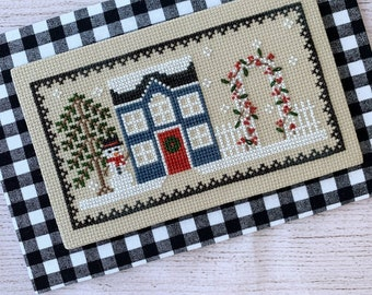 Counted Cross Stitch, Frost House, Cross Stitch Patterns, Winter Decor, Snowman, Snowflakes, Cottage Chic, Little Stitch Girl, PATTERN ONLY