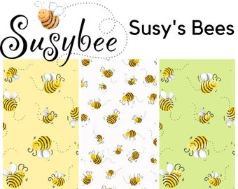 Quilt Fabric, Susy's Bees, Bumble Bee, Bee Allover, Yellow Bees, Light Green Bees, White Bees, Quilters Cotton, World of Susybee, Clothworks
