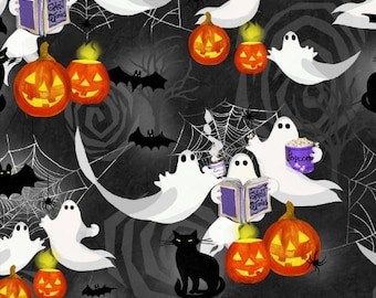 Quilt Fabric, Ghost Party, Ghosts, Black Cats, Bats, Spiders, Jack O'Lanterns, Pumpkins, Halloween Fabric, Halloween Decor, 3 Wishes Fabric