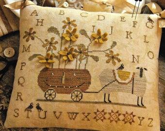 Counted Cross Stitch Pattern, Boo & Baa-BBIE, Fall Decor, Autumn, Pumpkin, Sheep, Primitive Decor, Farmstead, Brenda Gervais, PATTERN ONLY