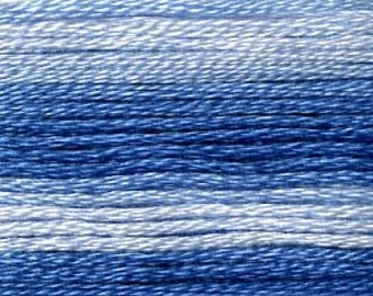 Cosmo, 6 Strand Cotton Floss, SE80-8052,  Seasons Variegated, Blue, Embroidery Floss, Punch Needle, Embroidery, Penny Rugs, Sewing Accessory