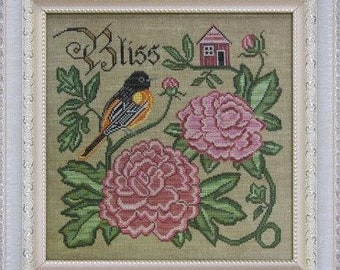 Counted Cross Stitch Pattern, Summer Bliss, Songbird's Garden, Baltimore Oriole, Peonies, Folk Art, Cottage Garden, PATTERN ONLY