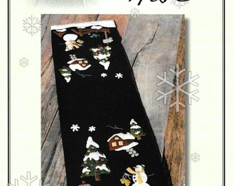 Wool Applique Pattern, Winter in the Valley, Wool Table Runner, Winter Decor, Christmas Tree, Snowman, Holiday, Nutmeg Hare, PATTERN ONLY