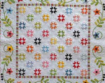 Quilt Pattern, Star Dance, Pieced and Appliqued Quilted Wall Hanging, Table Topper, Star Quilt, Bed Topper, Jillily Studio, PATTERN ONLY