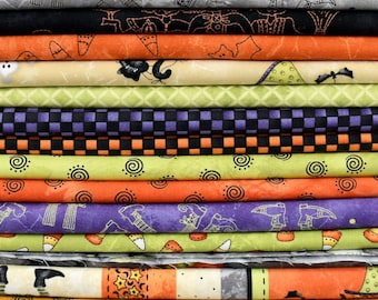 Quilters Cotton, Halloweenie, Maywood Studio, Cotton Fabric, 100% Cotton, Fat Quarters, Halloween Fabric, Quilting, Sewing, Robin Kingsley