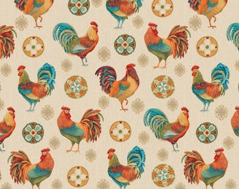 Quilt Fabric, Rooster Medallion, Rooster, Folk Art Medallion, 100% Cotton, Quilters Cotton, Home Dec, Premium Cotton, David Textiles