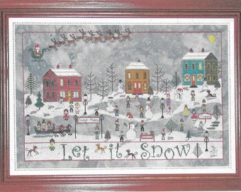 Counted Cross Stitch Pattern, December Snow, Winter Snow Scene, Christmas Decor, Ice Skaters, Praiseworthy Stitches, PATTERN ONLY