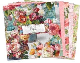 Quilt Fabric, Flower Market, Floral, Cotton Quilting Fabric, Floral Prints, Flowers in Jars, Stripes, Labels, Danhui Nai, Wilmington Prints