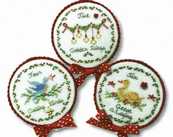 Counted Cross Stitch Pattern, Twelve Days of Christmas, Christmas Ornaments, Calling Birds, Golden Rings, Geese, JBW Designs, PATTERN ONLY