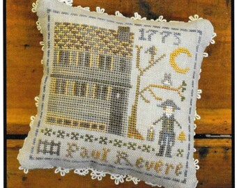 Counted Cross Stitch Pattern, Early Americans, No 6, Paul Revere, Little House Needleworks, Cross Stitch Pillow, PATTERN ONLY