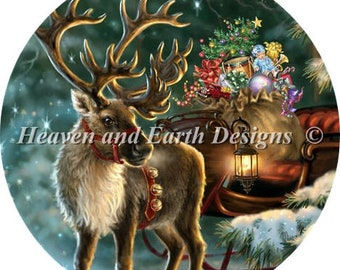 Counted Cross Stitch Pattern, The Enchanted Christmas, Ornament, Reindeer, Christmas, Dona Gelsinger Heaven and Earth Designs, PATTERN ONLY