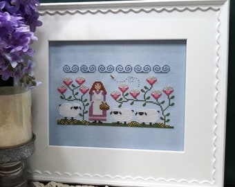 Counted Cross Stitch Pattern, Willamina's Woolens, Sheep, Garden Decor, Farm Decor, Farmhouse, Country, Vintage NeedleArts, PATTERN ONLY