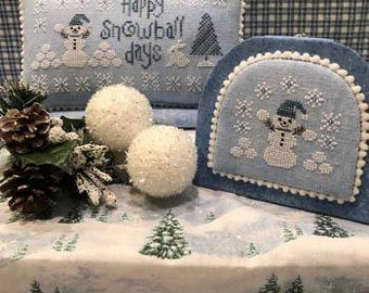 Counted Cross Stitch Pattern, Happy Snowball Days, Winter Decor, Snowman, Bunny, Snowballs, Snowflakes, Scissor Tail Designs, PATTERN ONLY