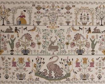 Counted Cross Stitch Pattern, Dutch Beauty Sampler, Scandinavian Art, Motif Sampler, Cross Stitch, Permin of Copenhagen, PATTERN ONLY