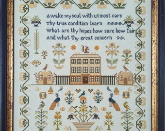 Counted Cross Stitch Pattern, Charlotte Kingsley Griffin 1834, Reproduction Sampler, Peacocks, Mill on the Floss Samplers, PATTERN ONLY