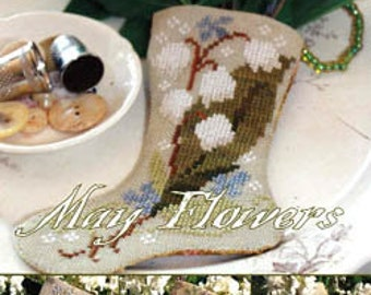 Counted Cross Stitch Pattern, May Flowers, Flower Stockings, Stocking Ornaments, Mother's Day, Blackbird Designs, PATTERN ONLY