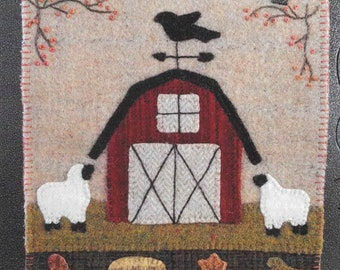 Wool Applique Pattern, Simply Sheep, Wool Wallhanging, Farm Sheep, Fall Decor, Primitive Decor, Wool Mat, Sew Cherished, PATTERN ONLY