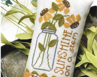 Cross Stitch Pattern, Sunshine on a Stem, Sunflowers, Mason Jar, Wool Applique, Garden Decor, Summer Decor, Hands on Design, PATTERN ONLY