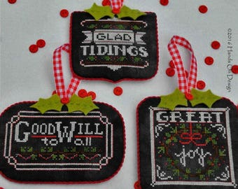 Counted Cross Stitch Pattern, Chalkboard Ornaments, Christmas Collection Two, Chalk Board Ornaments, Hands On Design, PATTERN ONLY