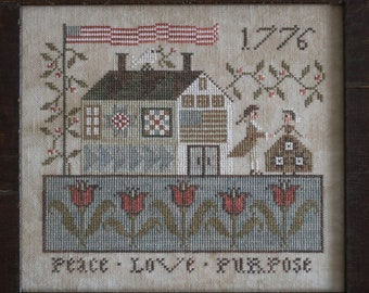 Counted Cross Stitch Pattern, Peace, Love & Purpose, Patriotic Cross Stitch, Tulips, Independence, Plum Street Samplers, Pattern Only
