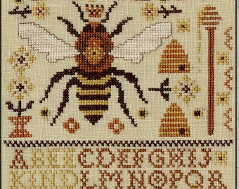 Counted Cross Stitch Pattern, Bee Kind, Bee Sampler, Bee Skep, Honey Bee, Queen Bee, Flowers, Primitive Decor, Teresa Kogut, PATTERN ONLY