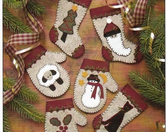 Wool Applique Pattern and Kit, Christmas Woolens, Christmas Ornaments, Redwork, Wool Applique, Rachel's of Greenfield, PATTERN AND KIT