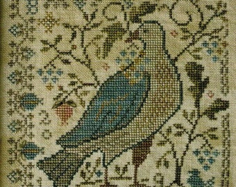 Counted Cross Stitch Pattern, Last Ripe Berries, Bird, Blooms, Berries, Primitive Decor, Garden Decor, Blackbird Designs, PATTERN ONLY