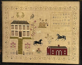 Counted Cross Stitch Pattern, The Stables at Hollyberry Farm, Colonial Style Needlework, Primitive Cross Stitch, Stacy Nash, PATTERN ONLY