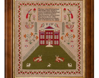 Counted Cross Stitch Pattern, How Now Brown Cow, Reproduction Sampler, English Sampler, Farm Sampler, Hands Across the Sea, PATTERN ONLY