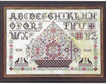 Counted Cross Stitch Pattern, Grayfriar's Sampler, Quaker Sampler, Reproduction Sampler, Basket Motif, Rosewood Manor, PATTERN ONLY