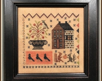 Counted Cross Stitch Pattern, Crow's Corner, Cross Stitch Pattern, Black Crows, Squirrels, Owl, The Scarlett House, PATTERN ONLY