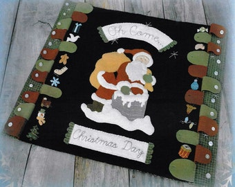 Wool Applique Pattern, Oh Come Christmas Day, Wool Table Mat, Advent Calendar, Christmas Decor, Santa Claus, Nutmeg Hare, PATTERN ONLY