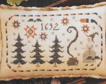 Counted Cross Stitch Pattern, Bowl Full of Scaries, Scary One, Halloween Decor, Witch, Primitive Decor, Plum Street Samplers, PATTERN ONLY