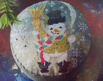Counted Cross Stitch Pattern, Frosty's Night Out, Snowman, Top Hat, Pincushion, Pin Cushion, Paper Mache, Blackbird Designs, PATTERN ONLY
