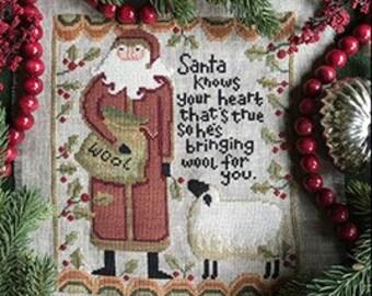 Counted Cross Stitch Pattern, Santa Knows, Christmas Decor, Santa, Sheep, Primitive Decor, Teresa Kogut, PATTERN ONLY