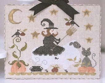 Counted Cross Stitch Pattern, Mouton d'Halloween, Halloween Sheep, Witch, Pumpkin, Cauldron, Primitive Decor, Folk Art, TraLaLa PATTERN ONLY
