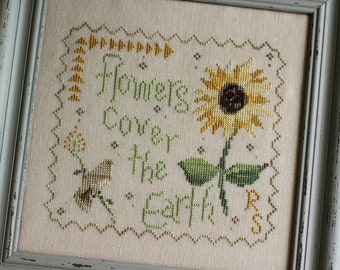 Counted Cross Stitch Pattern, Earth Flower, Sunflower, Cottage Chic, Garden Decor, Summer Decor, October House Fiber Arts, PATTERN ONLY