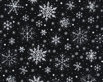 Quilt Fabric, Let It Snow, Black Fabric, White Snowflakes, Holiday Fabric, Christmas Fabric, Winter Fabric Timeless Treasures
