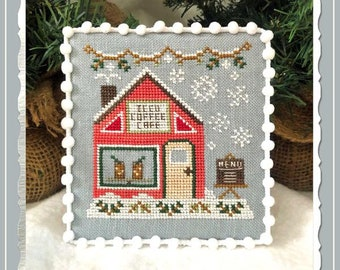 Counted Cross Stitch, Snow Village, Iced Coffee Cafe, Cottage Decor, Winter Decor, Country Cottage Needleworks, PATTERN ONLY