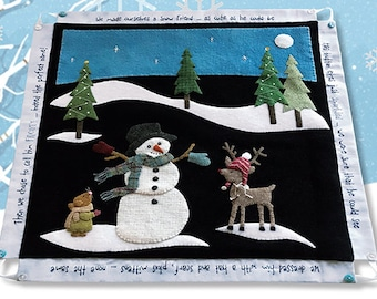 Wool Applique Pattern, The Perfect Name, Wall Hanging, Table Runner, Winter Decor, Reindeer, Snowman, Mouse, Nutmeg Hare, PATTERN ONLY